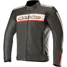 Alpinestars Dyno V2 Leather Jacket - Black Stone Red
