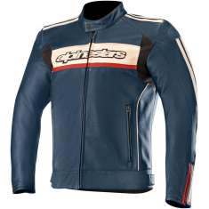 Alpinestars Dyno V2 Leather Jacket - Blue Stone Red