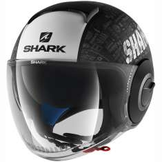 Shark Nano Tribute Helmet RM MAT KWA - Matt Black White Grey