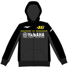 VR46 Yamaha Fleece Hoodie - Black Grey Yellow